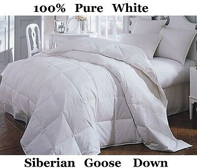 Luxury King Bed Size All Season 100% Pure Siberian Goose Down Duvet / Quilt