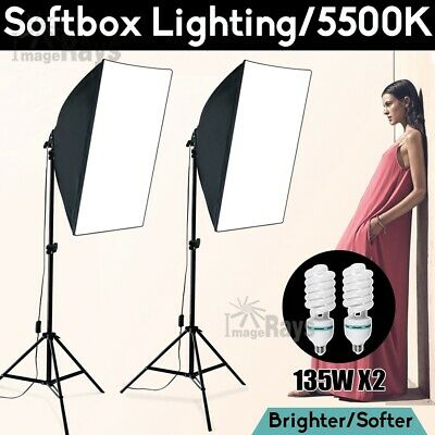 Photography Video Softbox 2x135W Light Soft Box Continuous Lighting Stand Kit AU