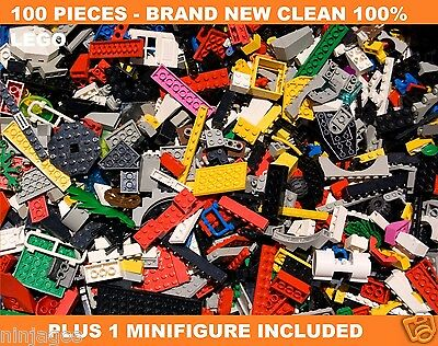 LEGO 100+ Clean New Pcs FROM HUGE BULK LOT w/ 1 MINIFIGURES Mint / Cheap Price