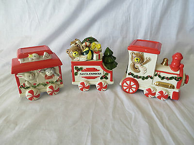 Vintage Fitz & Floyd Santa Christmas Train Lidded Box 3 Pc Set 1986 W/ Box