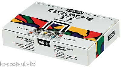 PEBEO T7 HIGH QUALITY EXTRA FINE GOUACHE 6 x 20ml ARTIST PAINT PRIMARY SET