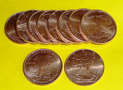 10 - Walking Liberty American Eagle Coins 1/2 oz each .999 Copper Bullion 20-100