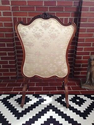 Antique French Fire Screen Cloth Wood *NICE*