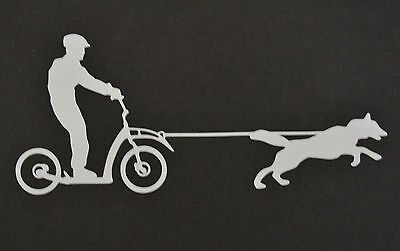Scooter Joring Siberian Husky Alaskan Malamute Sticker Decal Sled Dog Huskies