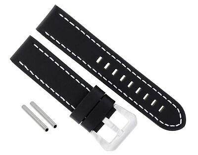 Big 24Mm Pam Cow Leather Watch Band Strap For Panerai Black Ws Buckle Polish #15