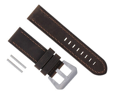 24Mm Leather Strap Watch Band For 44Mm Panerai 1950 88 104 177 112 D/Brown #17