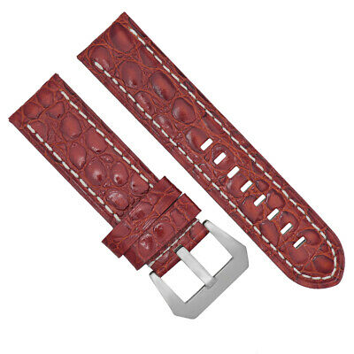 Big 24Mm Pam Gator Leather Watch Band Strap For 44Mm Panerai Marina L/brown Ws #