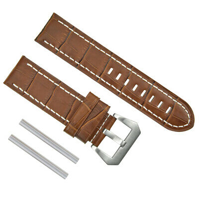 Big 24Mm Pam Leather Watch Band Strap For 44Mm Panerai L/brown Ws Buckle Brush #