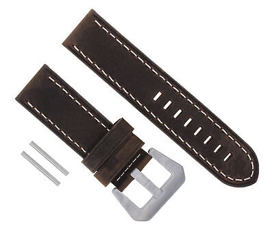 24Mm Cow Leather Strap Watch Band For Pam 44Mm Panerai Marina D/brown #17 Ws