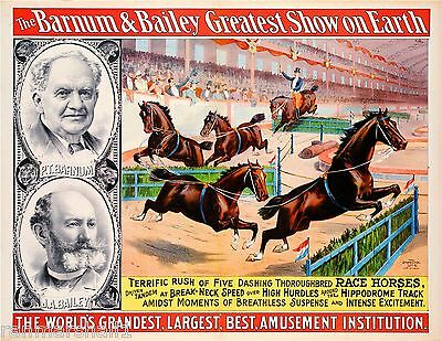 1895 Barnum & Bailey Horses Vintage Circus Advertisement Art Poster Print