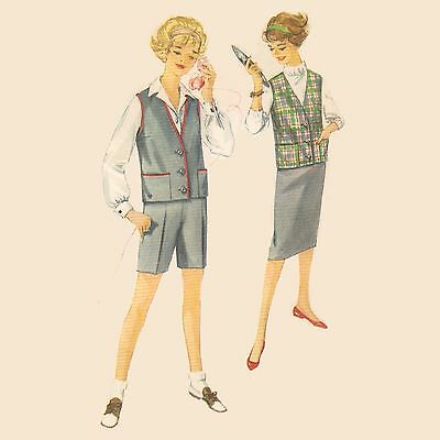 Vintage Sewing Pattern SIMPLICITY 3046 BUST 32 Size 12 Jacket Shorts Skirt 1950s