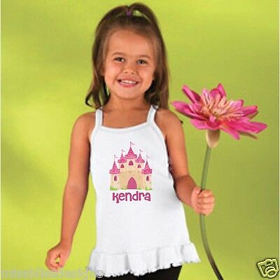 Personalized Princess Castle Girls Ruffle Tunic Top Size 2T 4T 5/6T