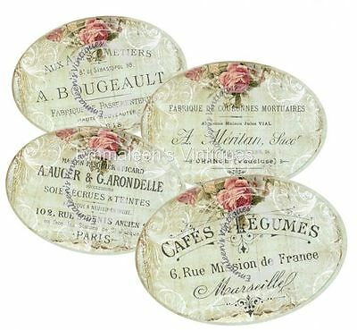 ~Vintage Image Shabby Victorian Rose Labels Waterslide Decals~ LAB409