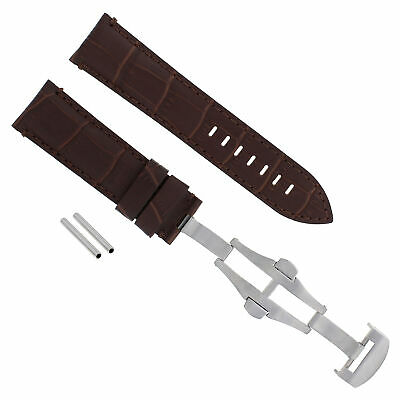 24Mm Leather Watch Band Strap Deployment Clasp For Pam 44Mm Panerai 104 Brown 18