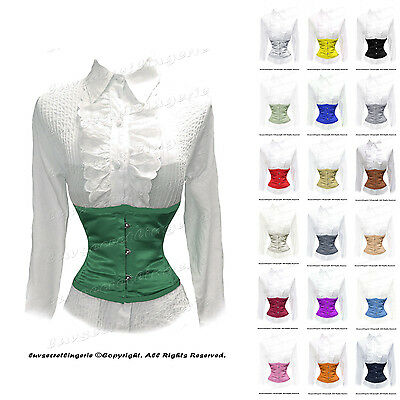 AU Stock 18 Double Steel Boned SATIN Waist Cincher Tight Waspie Underbust Corset