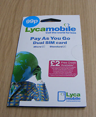 Lycamobile Standard & Micro Sim Card - Cheap International Calls £2 Free Credit