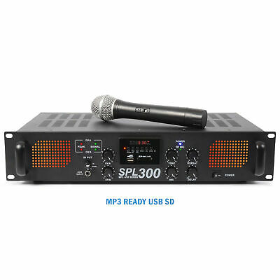Skytec SPL-300VHF Power Amplifier 2 x 150W Wireless Microphone Disco Amp