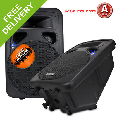 """Pair 15"""" Active PA Wedge Monitors Speakers Party Disco DJ Sound System 1600W"""