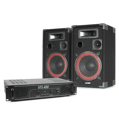 """2x Skytec 8"""" Party Speakers + Amplifier + Cables Disco DJ System Package 500W"""