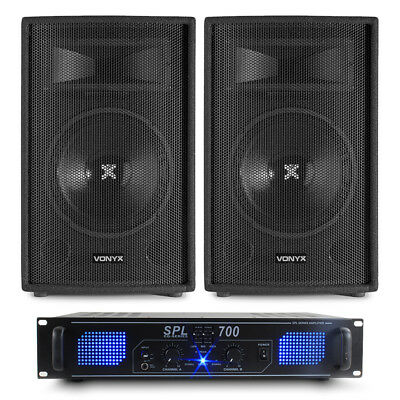"""2x Skytec SL10 10"""" DJ Party Speakers + Amplifier + Cables Disco System 500W"""