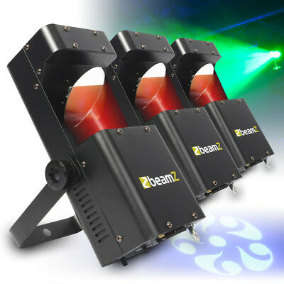 3x Beamz RGBW LED Mobile DJ Disco Party Scanner Lights Club GOBO Lighting