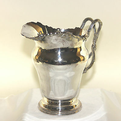 Ornate silver plate large pitcher/jug with grapes and vine handle