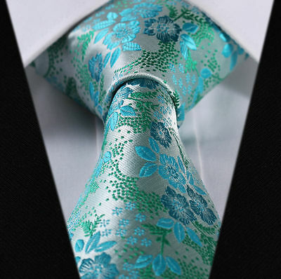 Mens Turquoise Tie Blue Green Wedding Floral Teal Necktie Paisley Silk Jacquard