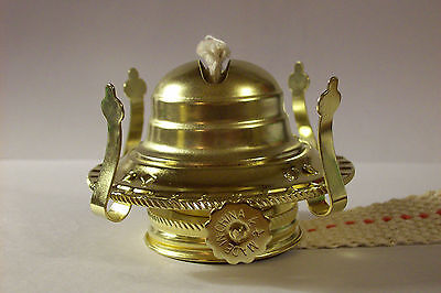#2 BRASS PLATED OIL BURNER WITH WICK FOR #2 OIL LAMP NEW 54350J