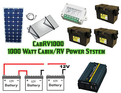 1000 Watt RV/Cabin/Boat Off Grid Solar Power System
