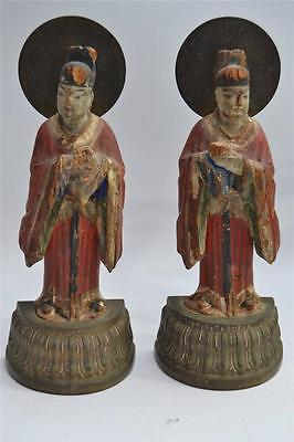 Pair Of 19 Century Antique Chinese Bronze & Wood Buddha Bookends