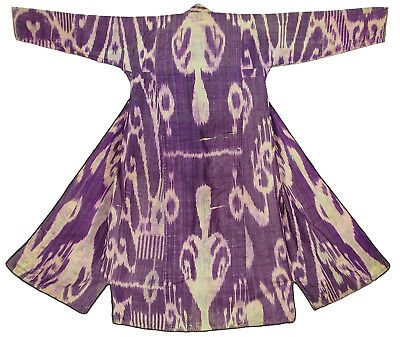 antike Uzbek Ikat Frauen Mantel Afghan Antique women's silk coat chyrpy  No:7
