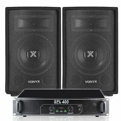 "2x Skytec 8"" PA Party Speakers + Skytec Power Amplifier Home Disco System 800W"