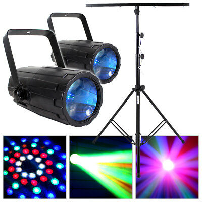 2x Beamz Colour LED Lights Disco Party + DJ Lighting T Bar Stand Package