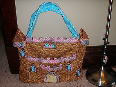Handmade quilted tote bag whimsical fantasy Castle picnic purse craft diaper bag