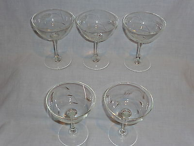 Vintage Noritake Etched Glass Wheat Champagne Cocktail Glasses (5)