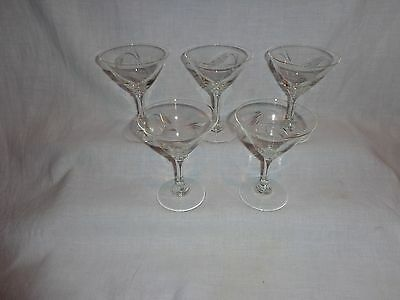 Vintage NoritakeEtched Glass Wheat Martini Cocktail Glasses (5)