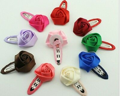 20Pcs Flower Kids Children Baby Girls Princess Hairpin Hair Bow Rose Bud Clip