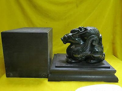 "Preeminent Artistic Chinese Old Jade Jasper Carved ""Dragon"" Seal With Box"
