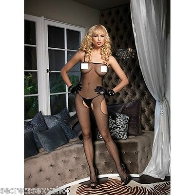 CATSUIT Bodystocking Aperta tuta a rete  SEXY Hot Lingerie shop nera