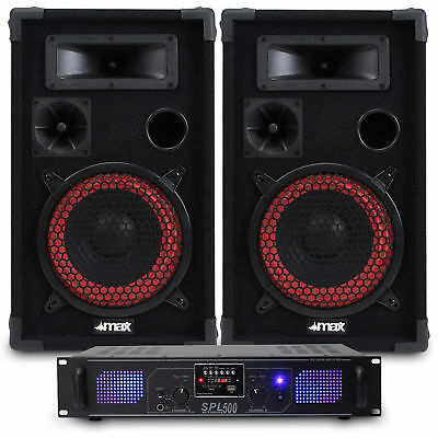 """2x Skytec 8"""" PA Disco Speakers + Amplifier + Cable House Party System 500W"""