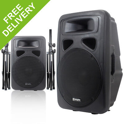 """2x Skytec 15"""" Active PA Speakers + Speaker Stands Disco DJ System Package 1600W"""