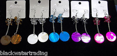 "12 PAIRS Wholesale Lot 1 Dozen NEW Beaded 3"" DANGLE PIERCED EARRINGS"