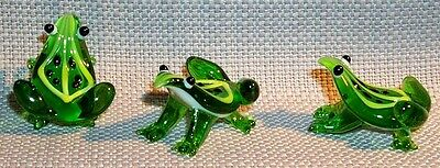 "Frog ArtGlass MINI 1""  Green Leaf jumping Frog same colors 6 pc.box lot"