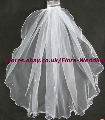 "1-Tier White Holy Communion/Bridal Wedding Hen night Veil & pearls,23""L"