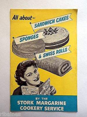 Vintage Stork Cookery Recipe Book/Booklet Sandwich Cakes Sponges & Swiss Rolls