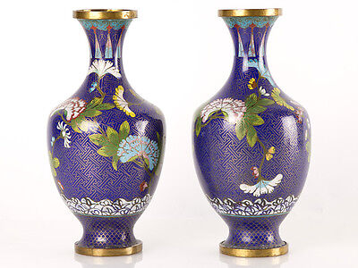 c1880 Pair of Chinese Cloisonne Baluster Vases