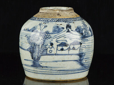 Late Ming Dynasty Chinese Blue and White Stoneware Ginger Jar