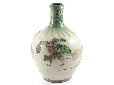 19th Century Japanese Story Stoneware Bottle Jar