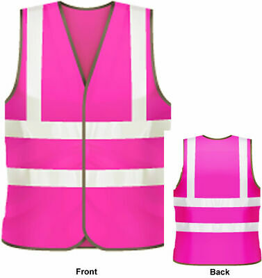 Pink Hi Vis Vest Reflective Visibility Sport Riding Hen Party Safety Jacket