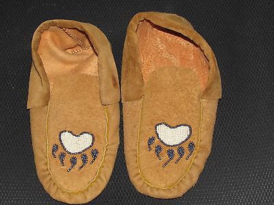 Home Tanned Moose Hide Beaded Moccasins Gleaming Green Bear Claw Vamp Non Lined